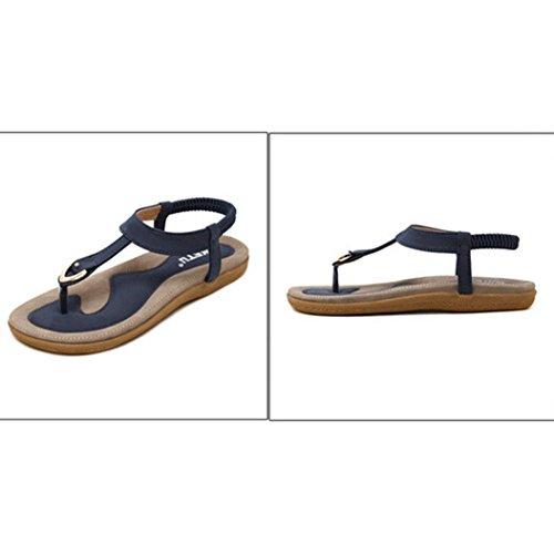 Vovotrade 2017 Moda Roma mujeres Bohe moda plana de gran tamaño casual sandalias playa casual zapatos Azul