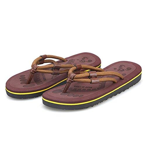 Hommes Chaussures de Plage Respirent Internet Vacances Antidérapant Été EVA Rayure Marron R38YhlGal