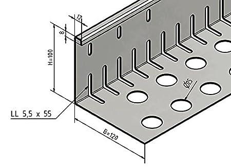 Kiesfangleiste gro/ß gelocht Aluminium axb=120 x 100mm 1,5 x 2.000mm