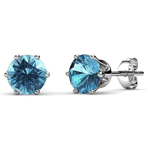 Cate & Chloe December Birthstone Stud Earrings, 18k White Gold Plated Earrings with 1ct Swarovski Blue Topaz Gemstone Crystals, December Birthstone Jewelry for Women