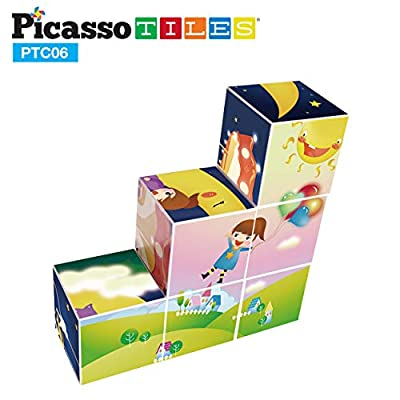 PicassoTiles Magnetic Puzzle Magic Cube Kids Toy Building Block Set Children Construction Stacking STEM Magnet Interconnect Interlocking Educational Learning Kit with 6 Different Picture Variety PTC06: Toys & Games