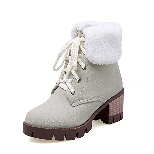 Grigi Balamasa Simil Scamosciata Platform In Womens Rotonda Stivali Heels Bandage Chunky Punta pelle 7r6wqz7