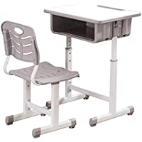 Simonseason Desk and Chairs Set, Height Adjustable Students Children School Study Sturdy Table Desk with Drawer Storage, Pencil Slot, Hook for School Boys & Girls - White