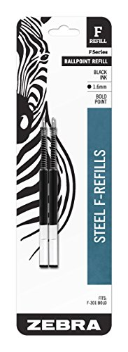 (Zebra F-Series Ballpoint Stainless Steel Pen Refill, Bold Point, 1.6mm, Black Ink, 2-Count )