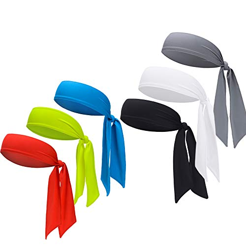 DEMIL Sports Headband - Head Tie Tennis Tie Hairband - Sweatbands Headbands Wristbands Head Wrap - Ideal for Working Out,Tennis (6pcs-Black+Grey+Blue+White+Yellow+red)