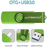 Wansenda OTG Micro USB Flash Drive 2 in 1 USB Pen Drive Micro Port & USB 3.0 Memory Stick 16GB High Speed Thumb Drive for Android Phone/PC/Mac (16GB, Green)