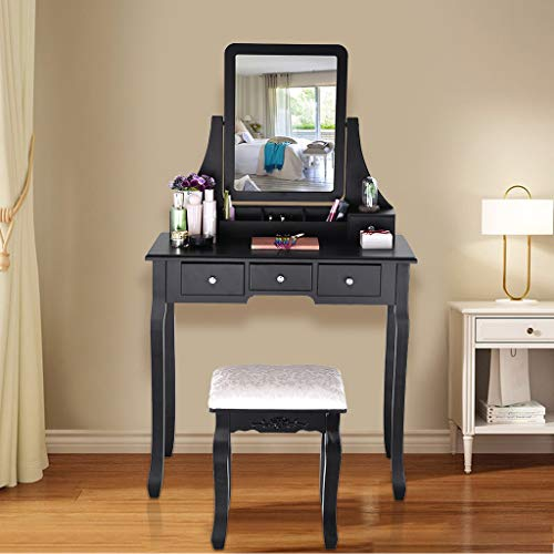 Nesee Makeup Vanity Set with 5 Drawers and 1 Removable Organizer, Dressing -