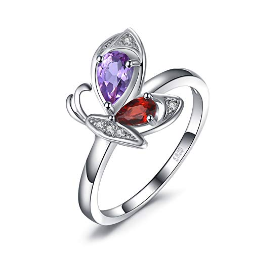JewelryPalace Playful Butterfly Pear Cut Genuine 0.5ct Amethyst 0.4ct Garnet Round Shape Cubic Zirconia Ring 925 Sterling Silver size 6