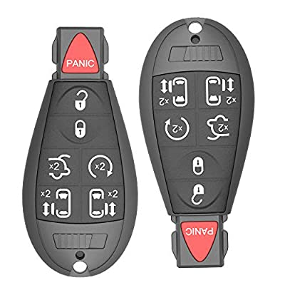 Keyless Remote Key Fob Replacement for 2008-2014 Dodge Grand Caravan 2008-2015 Town & Country OE# M3N5WY783X (Pack of 2) 7-Button with Uncut Key Blade: Automotive