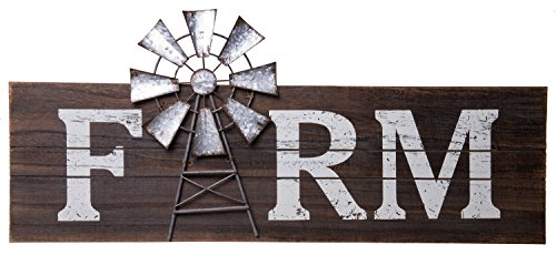 Farm Windmill Wood Rustic Sign - Country Home Wall Décor - 23.5 x 10.5 inches