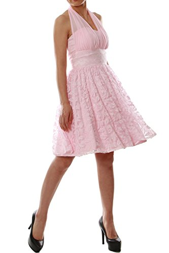 MACloth Women Halter Lace Short Bridesmaid Dress Wedding Party Cocktail Gown Rosa