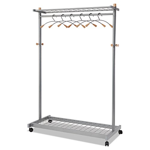 Alba PMLUX6 Garment Racks Two-Sided 2-Shelf Coat Rack 6 Hanger/6 Hook Silver (Sided 2 Shelf Steel Garment)
