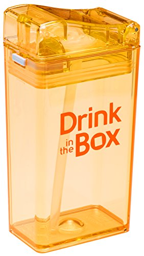 Drink in the Box Eco-Friendly Reusable Drink and Juice Box Container by Precidio Design, 8oz (Orange)