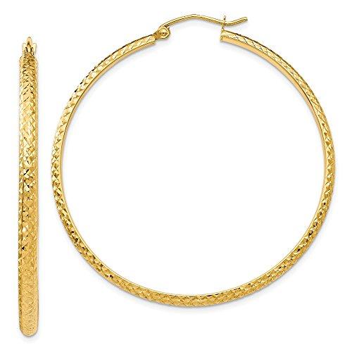 14k Gold Earrings C-hoop (14k Yellow Gold D/C 2.8mm Hollow Hoop Earrings (2.0IN Diameter))