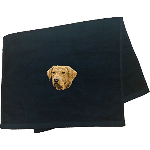 Cherrybrook Dog Breed Embroidered Anvil Hand Towel - Black - Chesapeake Bay Retriever - Embroidered Chesapeake Bay Retriever