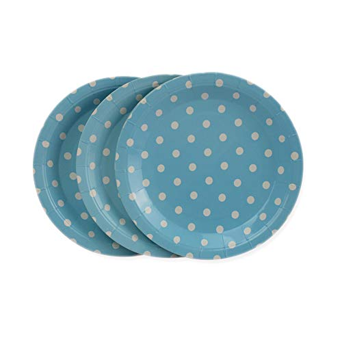 Polka Dot Tea Plates - Blue Polka Dot Paper Plates 36pcs - 9inch Disposable Round Party Plates for Cakes, Dessert, Fruits