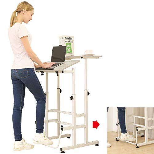 SDADI Adjustable Height Standing Desk with Swinging Footrest Optional for Standing and Seating 2 Modes, Light Grain L101XWFLT (Height Seating)