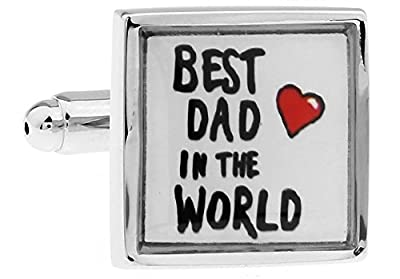 MFYS Best Dad in the World Cufflinks for Father Days Novelty Jewelry with Gift Cufflink Box