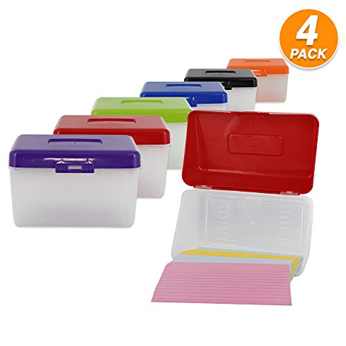 "Emraw 3"" X 5"" Index Card Case Holds Upto 250 Cards Ideal for Filing Notes, Addresses & Recipes - (Pack of 4)"