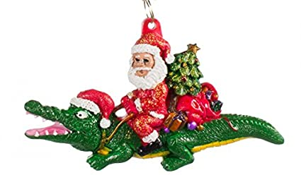 alligator bayou santa claus christmas tree holiday ornament louisiana cajun creole party mardi gras croc crocodile - Cajun Christmas Decorations