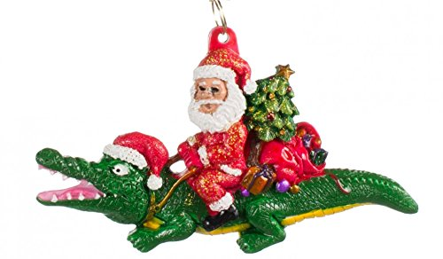 a Claus Christmas Tree Holiday Ornament Louisiana Cajun Creole Party Mardi Gras croc Crocodile (Louisiana Alligator)