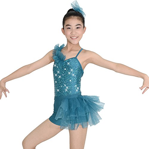 MiDee Jazz Dance Outfit Girls Hip Hop Dance Wear Flamenco Dance Costumes Girls Jazz Costumes Street Dance Dj Set (LC, Lake (Flamenco Dance Costumes For Girls)