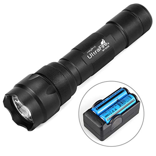 Ultrafire WF502B 1000 Lumens LED Flashlight Small Pocket Torch Black,With 2 Batteries and 1 Charger
