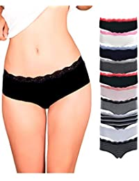 Womens Lace Underwear Hipster Panties Cotton-Spandex-10 Pack Colors and Patterns May Vary,Assorted