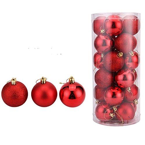 Tuscom 24Pcs Christmas 5CM Balls Baubles Party Xmas Tree Decorations Hanging Ornament Decor (Red) (Tree Games Christmas Cutting)