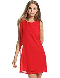 Meaneor Women Sleeveless Double layer Split A-Line Cocktail Party Chiffon Dress