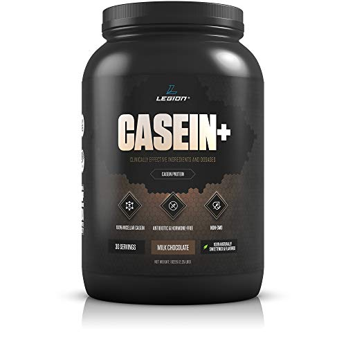 Legion Casein Chocolate Pure Micellar Casein Protein Powder- Non-GMO Grass Fed Cow Milk, Natural Flavors Stevia, Low Carb, Keto Friendly – Best Pre Sleep PM Slow Release Muscle Recovery Drink 2lb