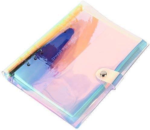DILISEN Cubierta de Carpeta de 6 Anillos A5 Carcasa Recargable para port/átil con Cierre de bot/ón a presi/ón para p/áginas de planificador encuadernadas en Anillo Deslumbrante Color arco/íris