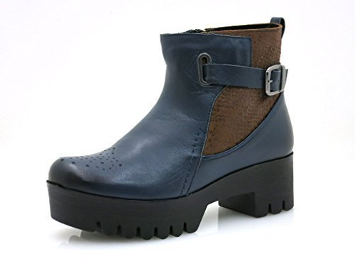 Kathamag Leather Ankle Boots Leather Warm Padding Winter Boot Ankle Boots Blue Blue