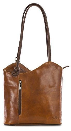 LIBBY Structured Leather Italian Brown LIATALIA Leather SOFT Tan Shoulder Soft Womens Medium Bag Backpack Duffle Rucksack amp; qIAtv
