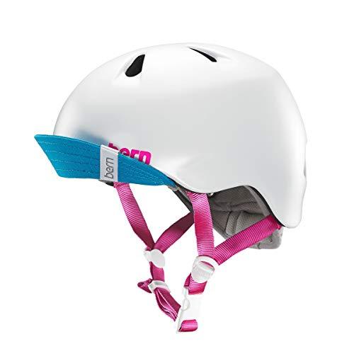 - BERN - Kid's Nina Helmet, Satin White w/Flip Visor, S/M