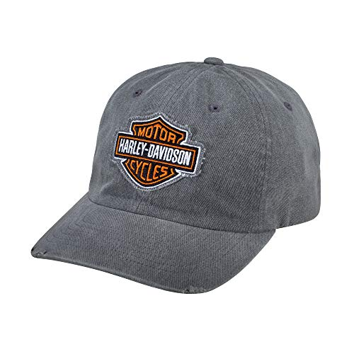 Harley-Davidson Official Men's Grey Frayed Logo Cap, Grey