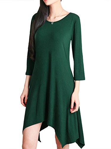 Anna Smith Irregular Hem Dress, Weekend Wear for Womens 3 4 Sleeve Crew Collar Plain Color Comfortable Flow Shirt with Pockets Both Side Stretch Rayon Spandex Drape Tunic Tops L Green.