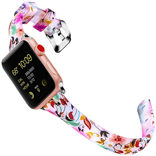 Lwsengme Band Compatible with Apple Watch 4/3/2/1, Clear Silicone Choose Color Classic Slim Bracelet iWatch Strap Compatible with Apple Watch Series 4,Series 3, Series 2, Series 1,Sport/Edition
