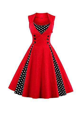Sans Dot Cocktail Red Polka Robe Manches Patch Femmes Vintage Zonsaoja Z0tAZ