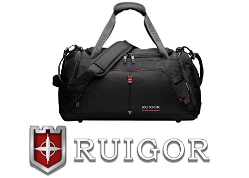 Ruigor Sport Gym Duffel Bag with Sweat Control Shoe Compartment, Water Resistant, Large Sports Duffle Motion 07 by Swiss Black