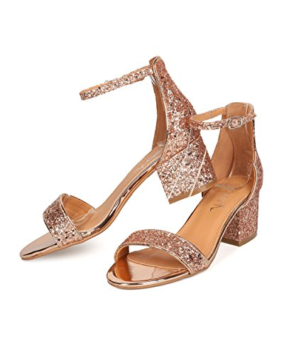Betani Dames Glitter Chunky Hak Sandaal - Veelzijdig, Wedding, Chic - Enkelbandje Blokhak Gc22 Roze