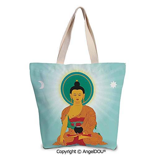 SCOXIXI Dharma Wheel Decor printed Tote Schoolgirl Bag Ladies Shopper Canvas Ba ()