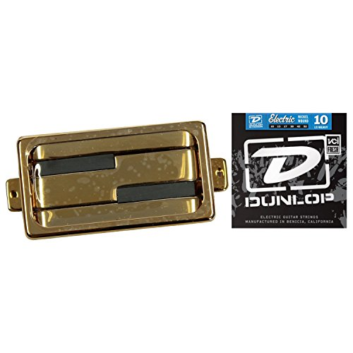 Lace Alumitone Humbucker Pickup - Gold Ring w/ Dunlop DEN1052 Electric Guitar Strings 10-52 Strings