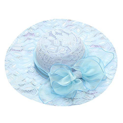 hositor Kentucky Derby Hats for Women, Women's Organza Church Kentucky Derby Fascinator Bridal Tea Party Wedding Hat Light Blue ()