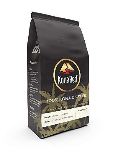 KonaRed Certified 100% Kona Coffee, Fancy - Whole Bean - Medium Roast, Single Estate Grown in the USA (10 oz)