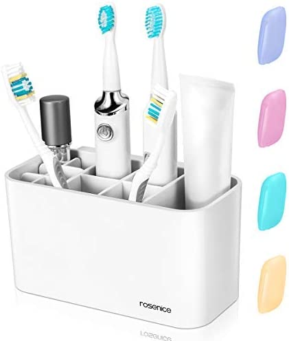 Amazon Com Healifty Toothbrush Holder Electric Toothbrush Caddy Stand 11 Slots For Toothbrush Toothpaste Bathroom Storage Organizer Wall Mounted And 4 Toothbrush Covers Health Personal Care