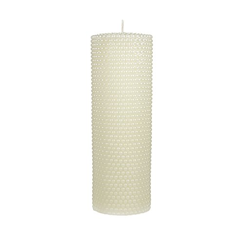 Mega Candles Unscented Ivory Round Pearl Pillar Candle | Hand Poured Premium Wax Candles 3'' x 9'' | For Home Décor, Wedding Receptions, Baby Showers, Birthdays, Celebrations, Party Favors & More by Mega Candles