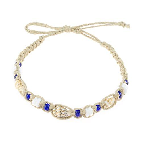 BlueRica Hemp Anklet Bracelet with Tiger Nassa, Puka Shells and Dark Blue Beads