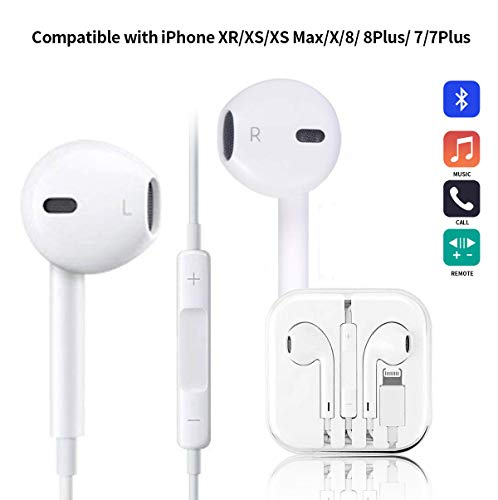 Earbuds Headphones, Kicoeoy Wired Earphones Stereo Bass Headphones Noise Isolating Headset with Microphone and Volume Control Compatible with iPhone XR/XS/XS Max/X/8/8 Plus/ 7/7Plus