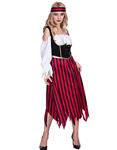 Halloween Pirate Costume for Women,Adult Stripe Dress with Headband,Fit for Activities,Festivals,Theme Parties for $<!--$19.99-->